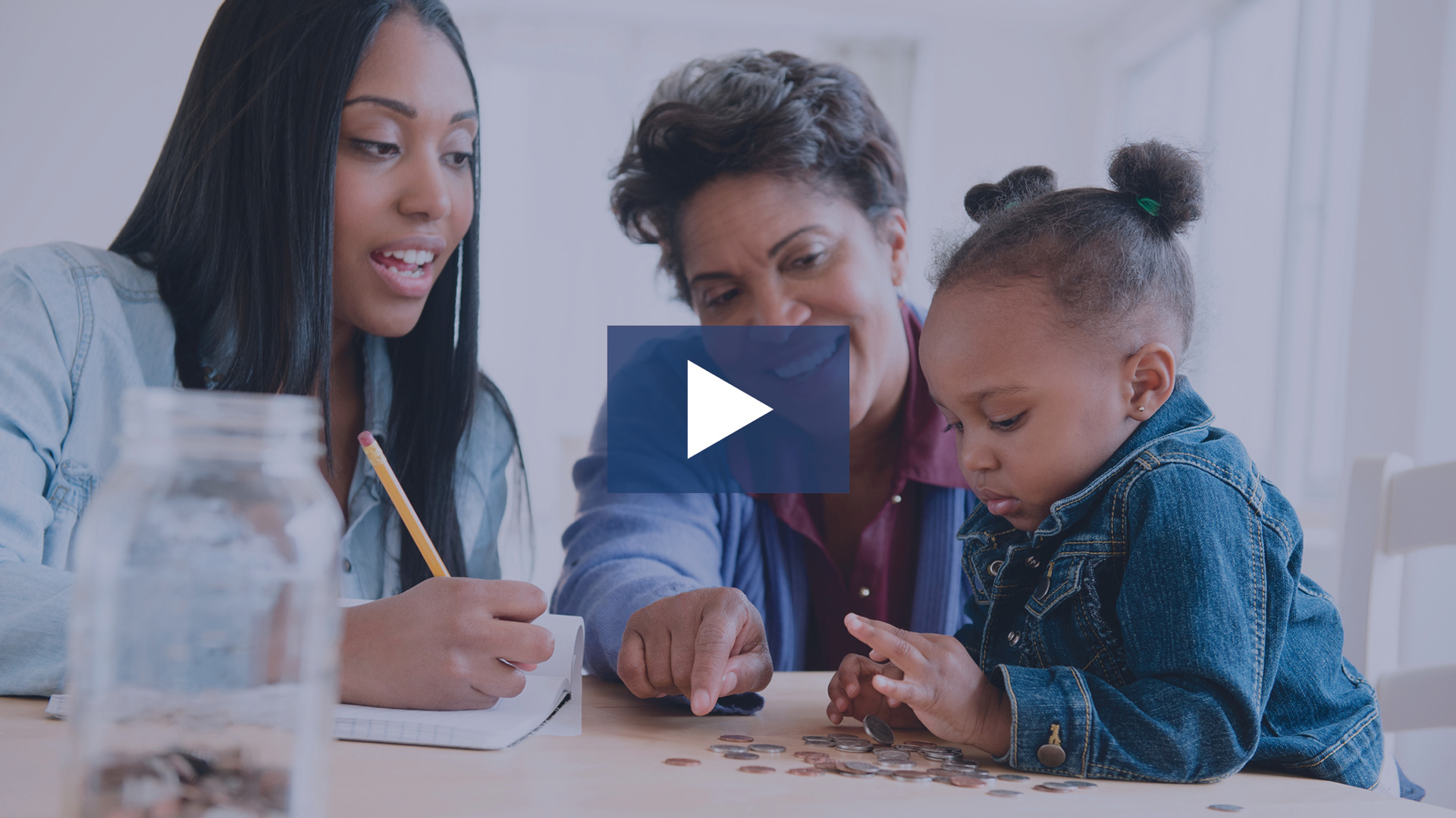 Mom and grandma teaching kid money tips