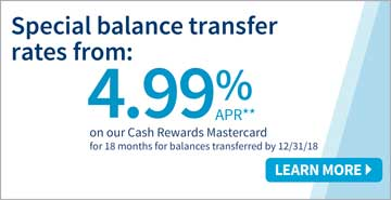 Special balance transfer rates from 4.99%