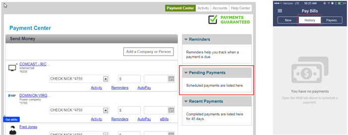 Pending Payments in Payment Center
