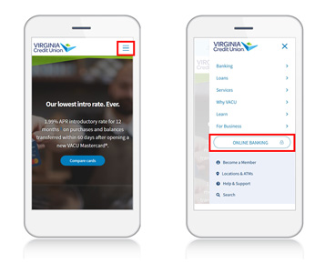 login in to online banking on a mobile phone or tablet