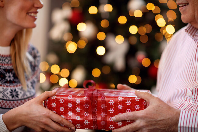 Two people exchanging gifts in front of a Christmas tree.