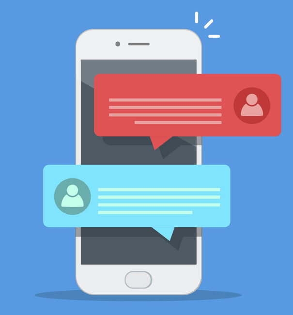 Chat messages notification on smartphone vector illustration