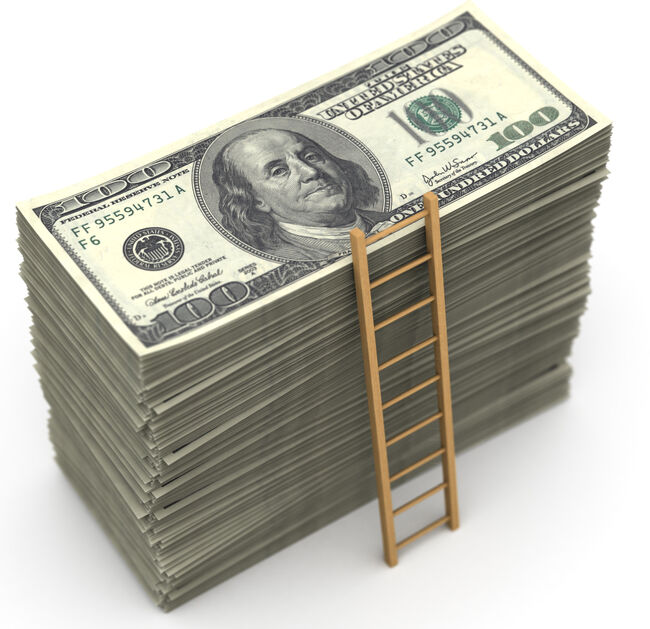 A small ladder going to the top of a stack of dollar bills.