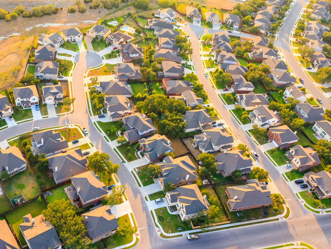 An aerial view of a suburban neighborhood.