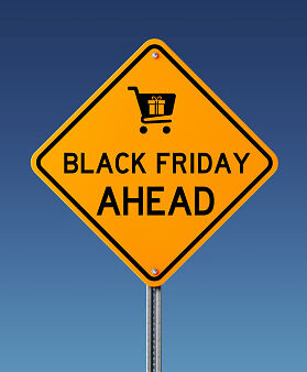 "A road sign that says ""Black Friday Ahead."""